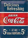 Coca-Cola - Delicious refreshing blue Blechschild, 30 x 40 cm
