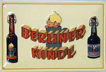 Berliner Kindl 2 Flaschen Blechschild