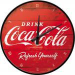 Coca-Cola - Logo Red Refresh Yourself Wanduhr (Echtglas)