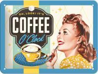 50's - Coffee O'Clock Blechschild