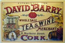 David Barry Tea & Wine Blechschild