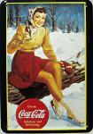 Blechpostkarte Coca Cola Eisläuferin
