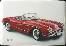 Blechpostkarte Corvette, rot