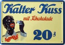Blechpostkarte Kalter Kuss mit Schokolade