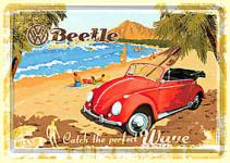 Blechpostkarte VW Beetle - Catch the perfect wave