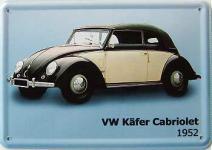 Blechpostkarte VW Käfer Cabriolet 1952