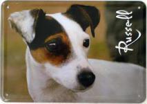 Blechpostkarte Hunde - Russell