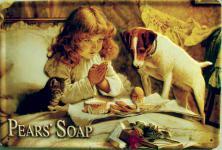 Pears Soap Mädchen mit Hund Blechschild