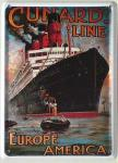 Cunard Line Europe America Mini Blechschild