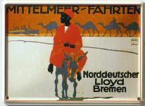 Norddeutscher Lloyd Mittelmeerfahrten Mini-Blechschild
