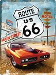 Route 66 Red Car Blechschild