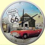 Highway 66 Cabrio Wanduhr (Echtglas)