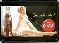 Coca Cola Be refreshed Mini Blechschild