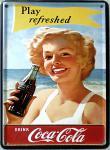 Coca Cola Play refreshed Strand Mini Blechschild