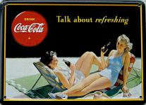 Coca Cola Talk about refreshing Mini Blechschild