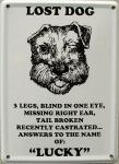 Lost Dog Lucky Mini-Blechschild