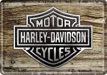 Blechpostkarte Harley-Davidson Wood Logo