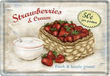 Blechpostkarte Strawberries & Cream