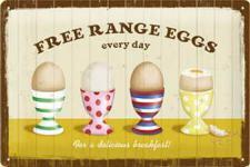 Free Range Eggs Blechschild
