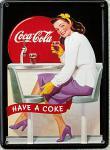 Coca Cola Diner Girl Mini Blechschild