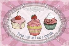 Cupcakes - Keep calm and eat a cupcake Blechschild
