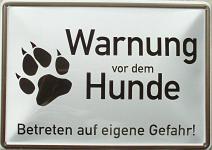 Blechpostkarte Warnung vor dem Hunde