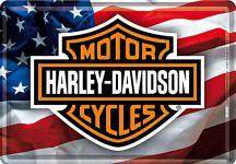 Blechpostkarte Harley-Davidson USA Logo