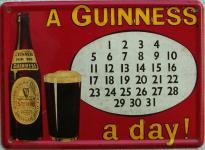 Guinness Kalender Mini Blechschild