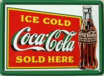Coca Cola Ice Cold Sold Here Mini Blechschild