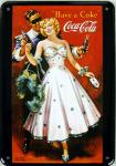Blechpostkarte Coca Cola Maskenball