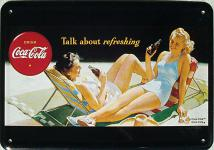 Blechpostkarte Coca Cola Talk About Refreshing