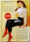 Blechpostkarte Coca Cola Kalender Girl
