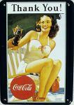 Blechpostkarte Coca Cola Thank You