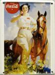 Coca Cola Lady mit Pferd Mini Blechschild