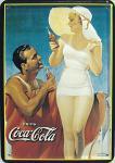 Blechpostkarte Coca Cola Strandnixe