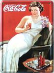 Coca Cola Dame in weiss Mini Blechschild