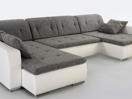 sofa couch ferun 365x200 185 cm webstoff hellgrau kunstleder wei kaufen bei vbbv gmbh co kg. Black Bedroom Furniture Sets. Home Design Ideas