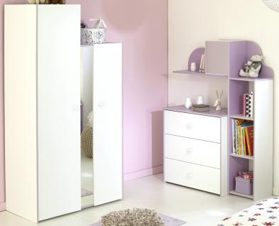 Kinderzimmer Milena 3 weiß lila Kleiderschrank Regal Kommode Wandregal