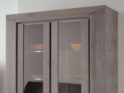 vitrine highboard heros 5 eiche grau 126x188x44cm led beleuchtung kaufen bei vbbv gmbh. Black Bedroom Furniture Sets. Home Design Ideas