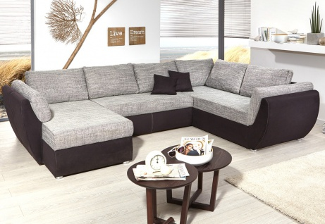 wohnlandschaft ontario 326x231 cm mikrofaser grau schwarz sofa u form kaufen bei vbbv gmbh. Black Bedroom Furniture Sets. Home Design Ideas