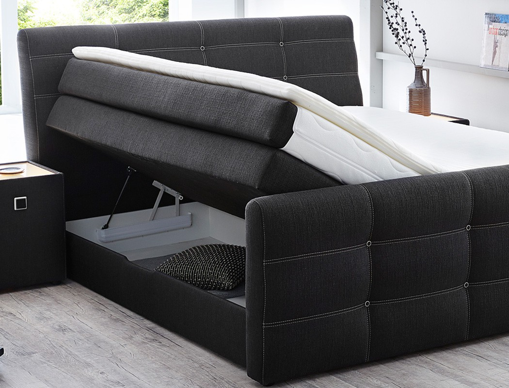 boxspringbett gregor 180x200cm bezug grau doppelbett bett bettkasten kaufen bei vbbv gmbh co kg. Black Bedroom Furniture Sets. Home Design Ideas