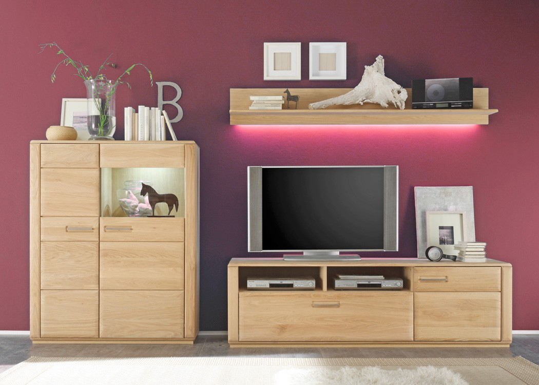 wohnwand senta 25 eiche bianco teilmassiv 3 teilig medienwand tv wand kaufen bei vbbv gmbh. Black Bedroom Furniture Sets. Home Design Ideas