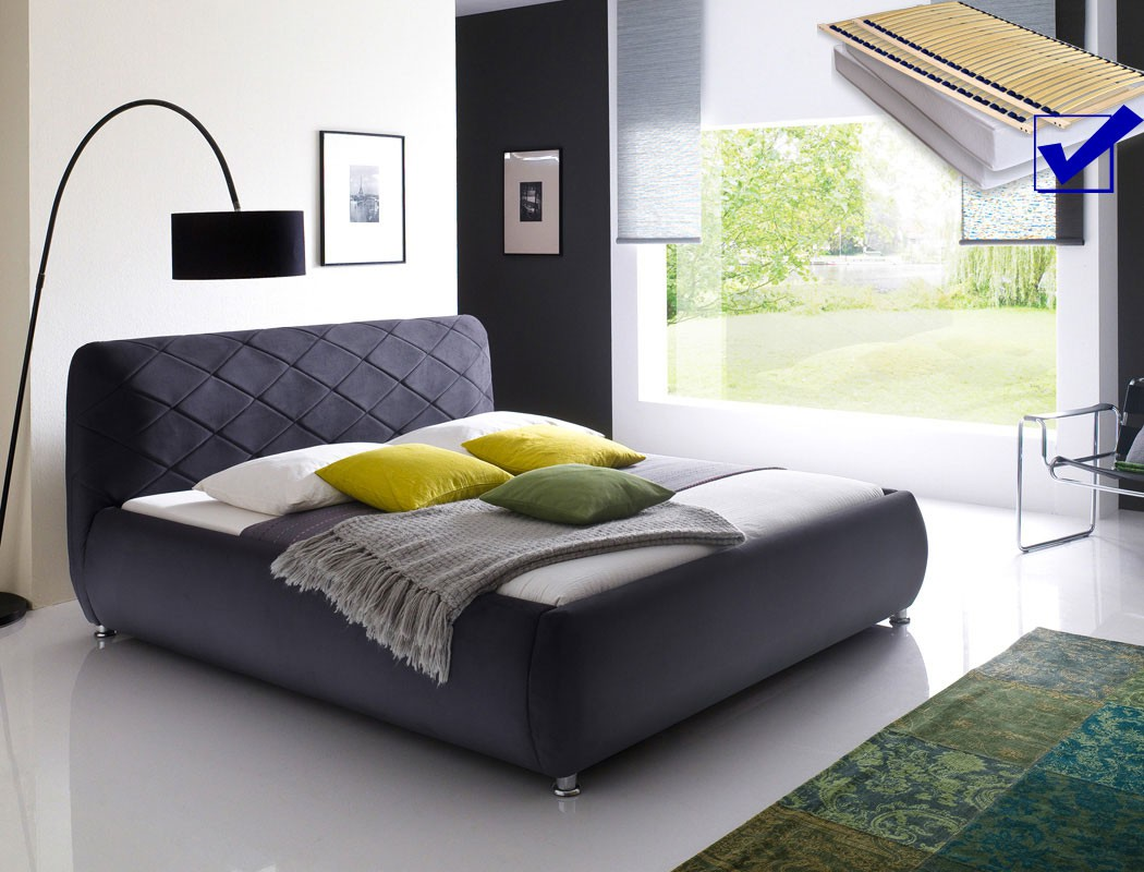 polsterbett antoni bett 180x200 cm anthrazit mit lattenrost matratze kaufen bei vbbv gmbh co kg. Black Bedroom Furniture Sets. Home Design Ideas