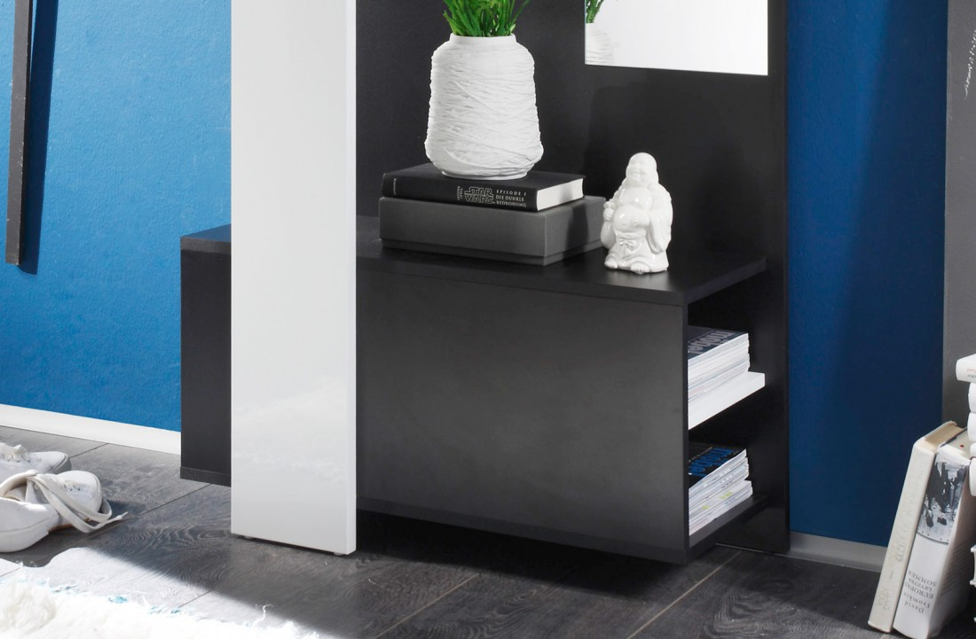 garderobe smart schwarz wei 75x200x33cm wandgarderobe flurgarderobe kaufen bei vbbv gmbh co kg. Black Bedroom Furniture Sets. Home Design Ideas