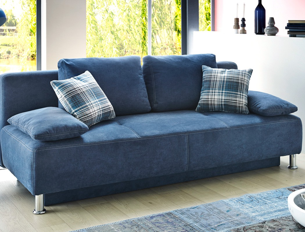 funktionssofa carlo 203x97 cm mikrofaser blau schlafsofa sofa couch kaufen bei vbbv gmbh co kg. Black Bedroom Furniture Sets. Home Design Ideas