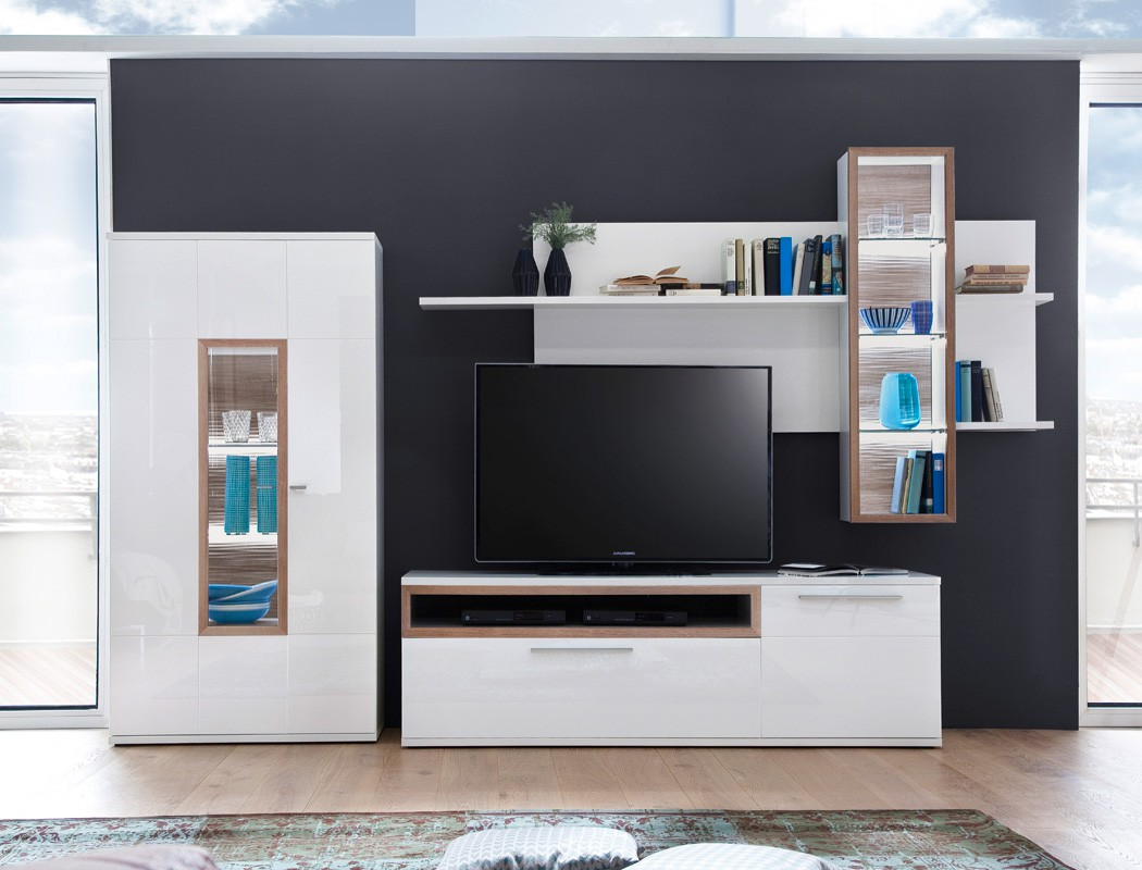wohnwand parla 22 wei hochglanz 3 teilig medienwand tv wand mit led kaufen bei vbbv gmbh co kg. Black Bedroom Furniture Sets. Home Design Ideas