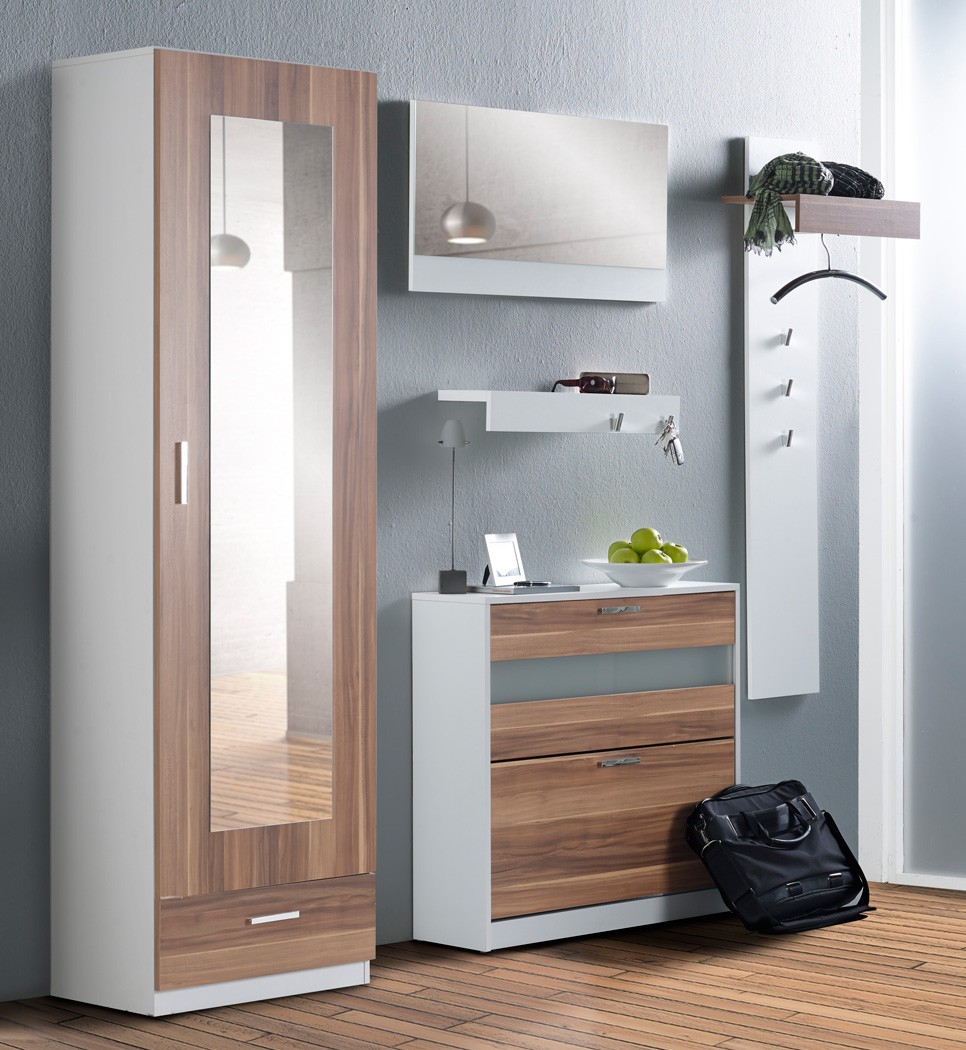 garderoben set nando 5 tlg nussbaum wei paneel spiegel schrank board kaufen bei vbbv gmbh. Black Bedroom Furniture Sets. Home Design Ideas