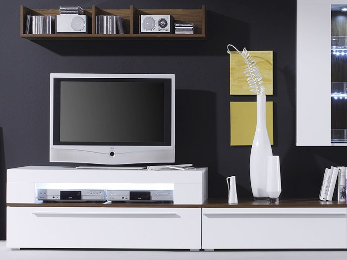 wohnwand criss weiss walnuss 312x190x47 schrankwand wohnzimmerschrank kaufen bei vbbv gmbh. Black Bedroom Furniture Sets. Home Design Ideas