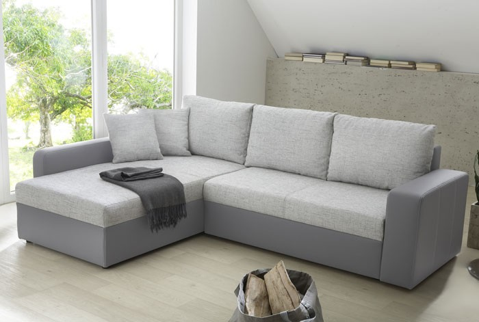 ecksofa vida 244x174cm webstoff hellgrau kunstleder grau schlafsofa kaufen bei vbbv gmbh. Black Bedroom Furniture Sets. Home Design Ideas