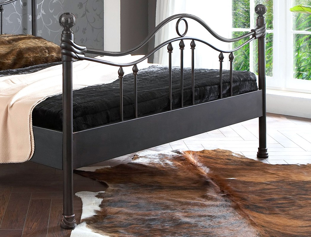 metallbett bologna schwarz silber gewischt gr e nach wahl. Black Bedroom Furniture Sets. Home Design Ideas